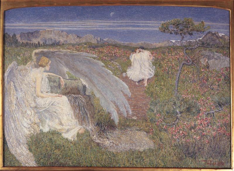 Giovanni Segantini Lamore alla fonte della vita 1896 Olio su tela cm. 72x100 Milano Galleria dArte Moderna2